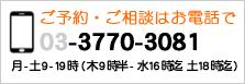 ご予約・ご相談はお電話で 03-3770-3081